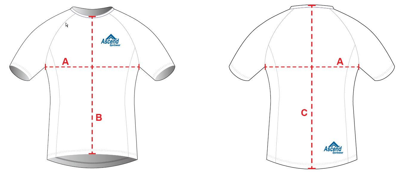 Custom Tech-T & Running Shirt Sizing Chart Diagram - Women's