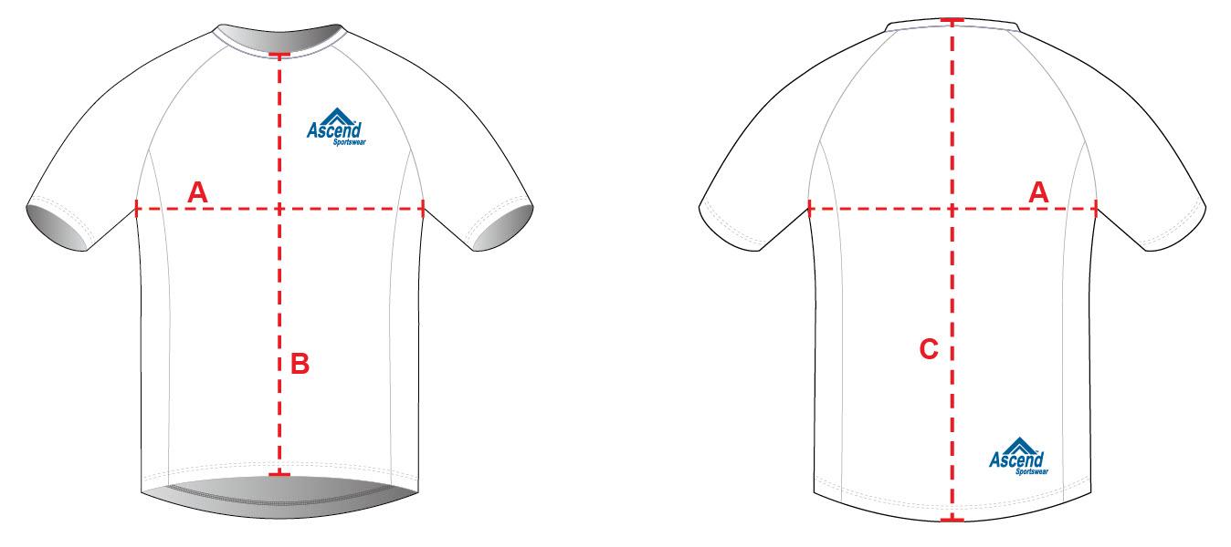 Custom Tech-T & Running Shirt Sizing Chart Diagram